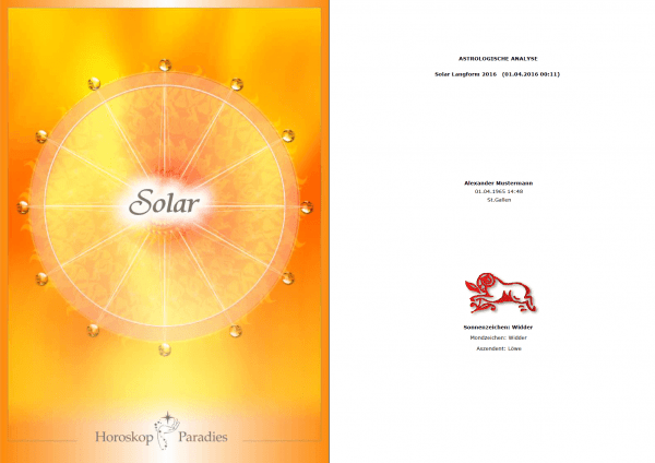 Deckblatt - Jahreshoroskop Solar